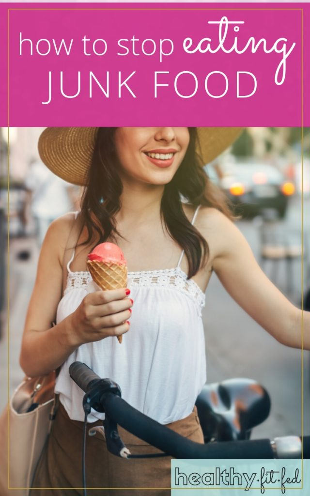 How to stop eating junk food, photo of woman holding ice cream while biking