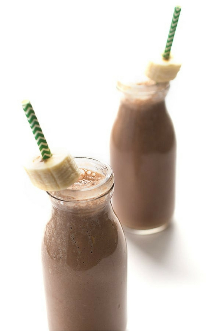 Healthy protein coffee smoothie recipe for weight loss. Chocolate Banana. Yum.