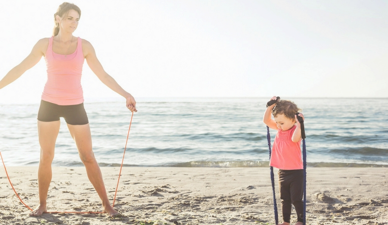 Workout with toddler backyard jump rope
