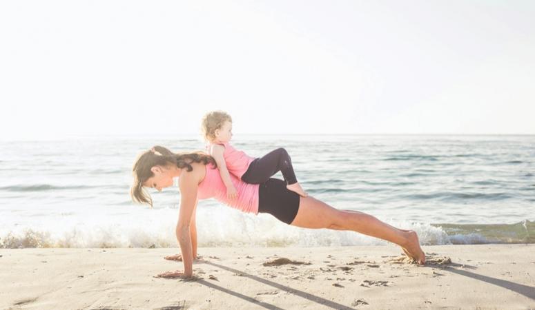 Workout with toddler backyard push-ups